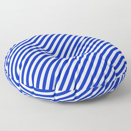 Small Cobalt Blue and White Candy Cane Stripe Floor Pillow