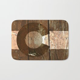 Rustic brown wooden Colorado flag Bath Mat