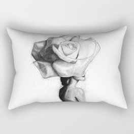 The woman with the head of a rose - Christy Turlington Rectangular Pillow
