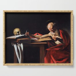 Saint Jerome Writing by Caravaggio (1606) Serving Tray