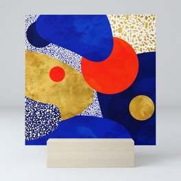 Terrazzo galaxy blue night yellow gold orange Mini Art Print
