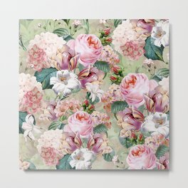 Vintage & Shabby Chic -Blush Pink Botanical Spring Roses Garden  Metal Print