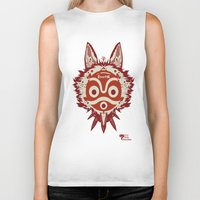princess mononoke Biker Tanks featuring Princess Mononoke by StraySheep