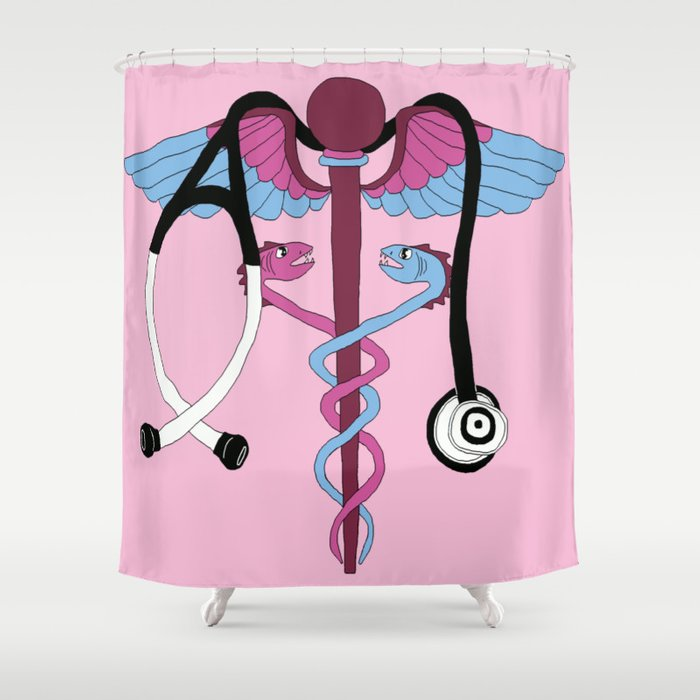 Medical Caduceus And Stethoscope Pink Shower Curtain