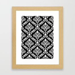 Prima Damask Pattern White on Black Gerahmter Kunstdruck