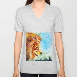 The Lion and the Rat - Animal - by LiliFlore Unisex V-Neck