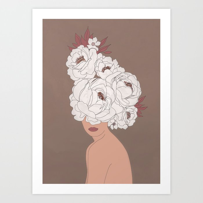 Woman with Peonies Art Print