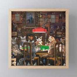 Cats Playing Poker Framed Mini Art Print