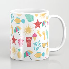 Summer time pattern with colorful beach elements Coffee Mug