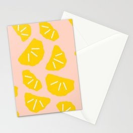 Modern abstract geometrical summer oranges pattern Stationery Cards