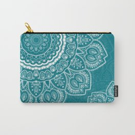 Mandala in White on Teal Carry-All Pouch