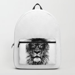Hipster Lion Black and white Backpack
