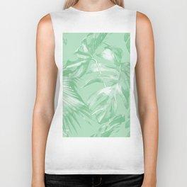 Tropics Mint Green Palm Leaves Biker Tank