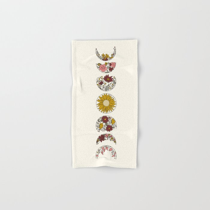 Floral Phases of the Moon Hand & Bath Towel