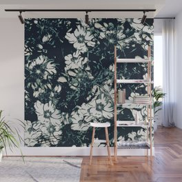 Green, Black, and White Abstract Floral Print Wall Mural