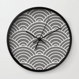 Gray Japanese Seigaiha Wave Wall Clock
