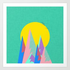 Neon Cliffs Art Print