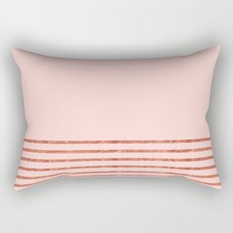 Blush Rose Gold Stripes Rectangular Pillow