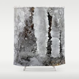 Watercolor Ice 11, Ribbed Columns Shower Curtain