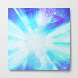 Inner Glow Turquoise Blue Metal Print