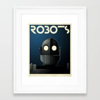 iron giant Framed Art Prints featuring Robots - Iron Giant by Greg-guillemin
