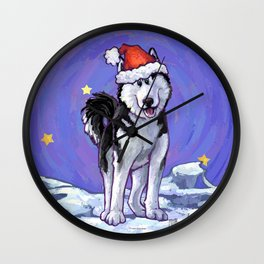 Husky Christmas Wall Clock