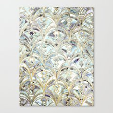 Pale Bright Mint and Sage Art Deco Marbling Canvas Print