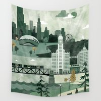 travel poster Wall Tapestries featuring Chicago Travel Poster Illustration by ClaireIllustrations