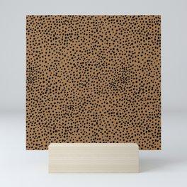 Little wild cheetah spots animal print neutral home trend rust copper black  Mini Art Print