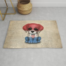 Cute Puppy Dog with flag of Croatia Rug