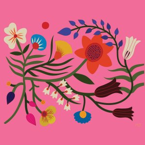 illustration of flowers on a bright pink background