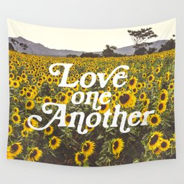 Love One Another Sunflowers Wall Tapestry