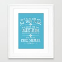bible verses Framed Art Prints featuring Proverbs 3 verses 5 and 6 - Typographic Bible Verse by Chris Watts