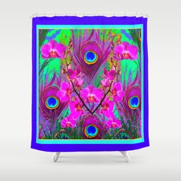 Purple Blue Green Peacock Feathers Lavender Orchid Patterns Art Shower Curtain