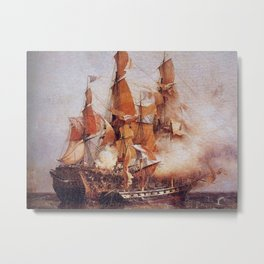 Naval battle between the Confiance and HMS Kent Metal Print