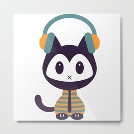 Cute kitten in headphones Metal Print