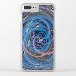 Bees Swarm Vortex Typography by OLena Art Clear iPhone Case