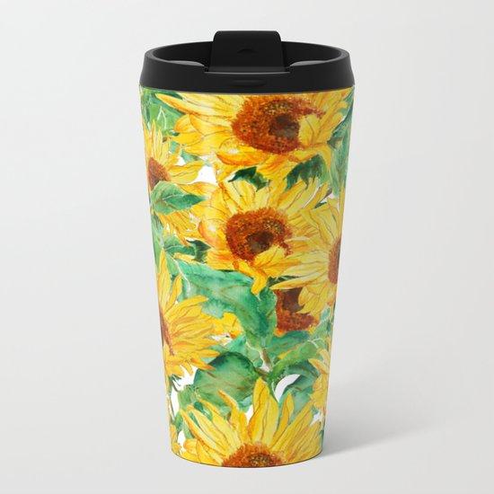 sunflower pattern Metal Travel Mug