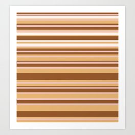 Coffee color stripes Art Print