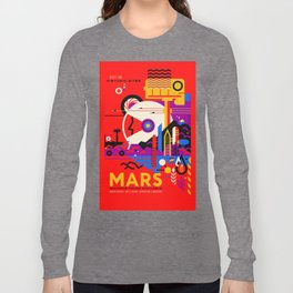 NASA Mars The Red Planet Retro Poster Futuristic Best Quality Long Sleeve T-shirt