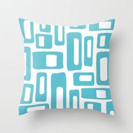 Retro Mid Century Modern Abstract Pattern 336 Light Aqua Blue Green Throw Pillow