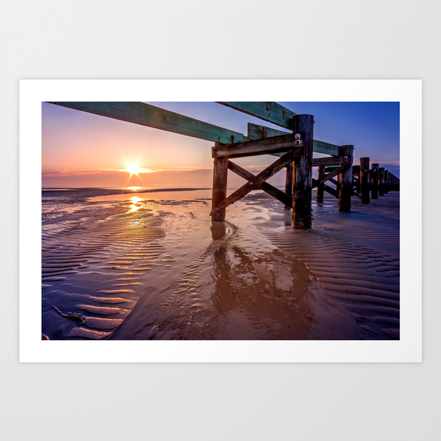 Biloxi Beach Low Tide Sunrise Art Print By Jmccool Society6