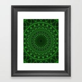 Digital mandala in green tones Framed Art Print