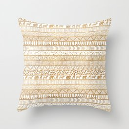 Trendy White & Gold Tribal African Pattern Throw Pillow
