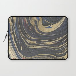 Abstract navy blue gray coral gold marble Laptop Sleeve