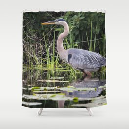 Heron pose in the channel Shower Curtain