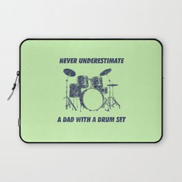 Never Underestimate A Dad With A Drum Set Funny Drums Vintage Drummer Distressed Laptop Sleeve