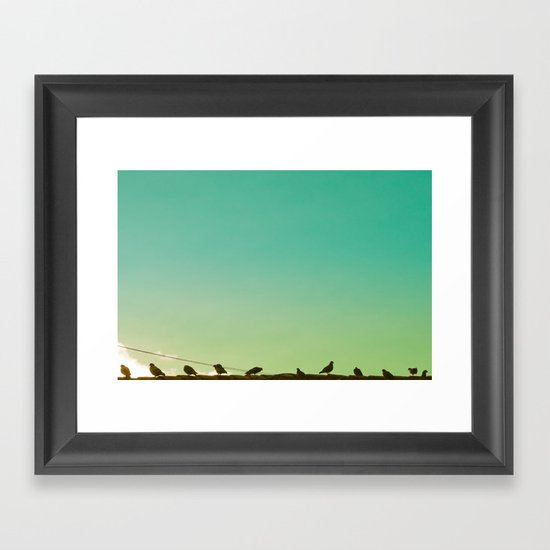 Birds and retro turquoise sky Framed Art Print