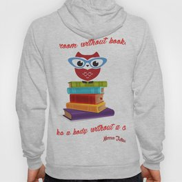 owl on the books with glass  Marcus Tullius Cicero quote Hoody