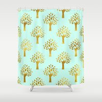 gold foil Shower Curtains featuring Mint Gold Foil 02 by Aloke Design